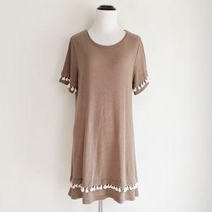 Umgee Brown Tasseled Dress